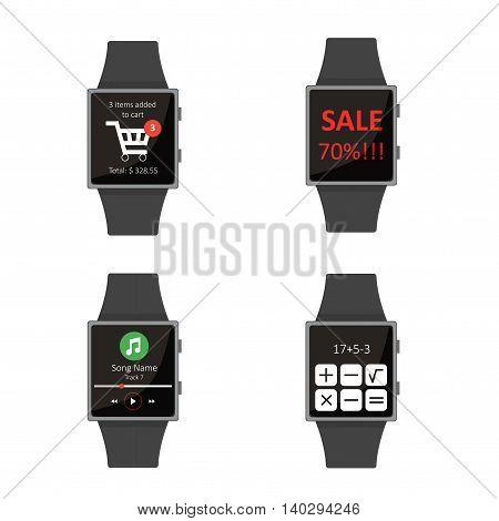 Smart Watch.icon Set. Cartoon Style. Flat Elements. Vector Illustration.