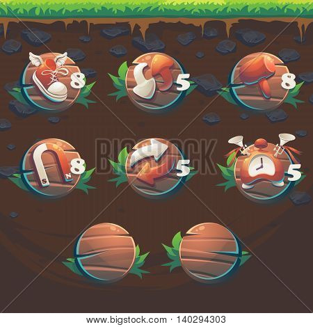 Feed the fox GUI match 3 game user interface boosters - cartoon stylized vector illustration window.