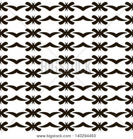 Elegant seamless black and white pattern with graceful roundish figures. Vector illustration for fabric, paper and other