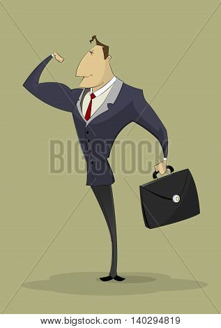 Strong businessman shows biceps. Successful entrepreneur, business, strong leader concept illustration.