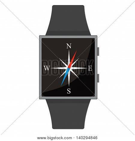 Smart Watch. Compas. Cartoon Style. Flat Element. Vector Illustration.