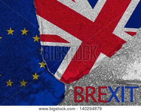 Flags of the United Kingdom and the European Union on cracked street texture background