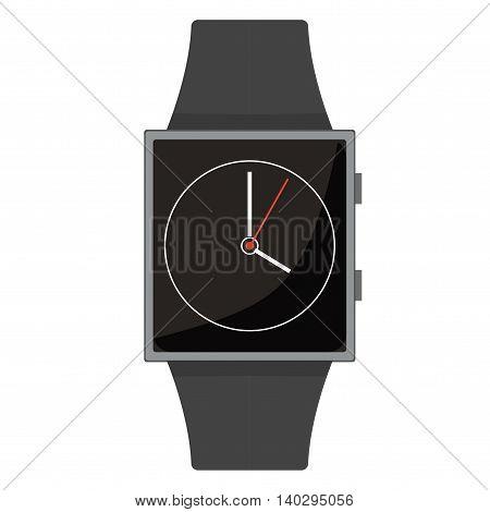 Smart Watch. Classic Clock. Cartoon Style. Flat Element. Vector Illustration.
