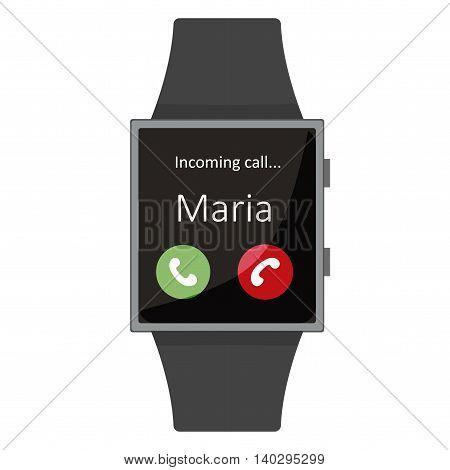Smart Watch. Maria Calling. Cartoon Style. Flat Element. Vector Illustration.