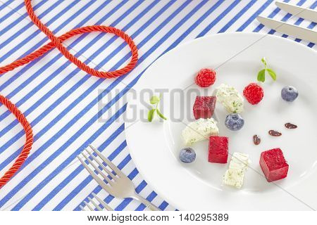 Appetizer Made Of Beet, Fruits And Cottage Cheese.