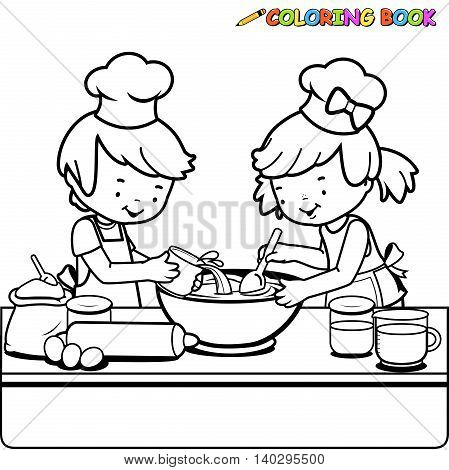 Black and white outline image of a boy and a girl cooking in the kitchen.