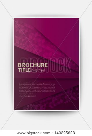 brochure flyer dark magenta Modern Vector abstract brochure / book / flyer design template business design layout template in A4 size, with blur background, vector eps10