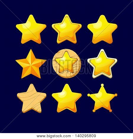 Vector illustration.Set of Cartoon different Stars.Cartoon glossy Star isolated on a dark background. Game icon.Vector design for app user interface and score display.Set of wooden and golden stars.