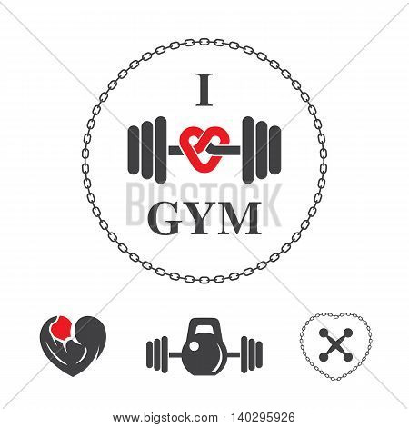 Fitness vector label for flayer poster logo or t-shirt print with lettering chain and dumbbell.