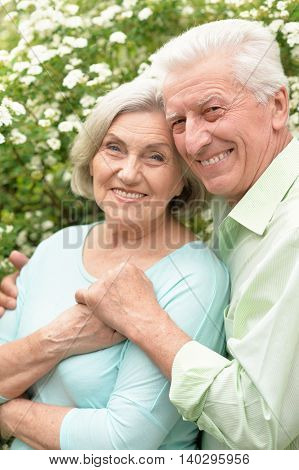 Portrait of a happy mature couple in a spring park