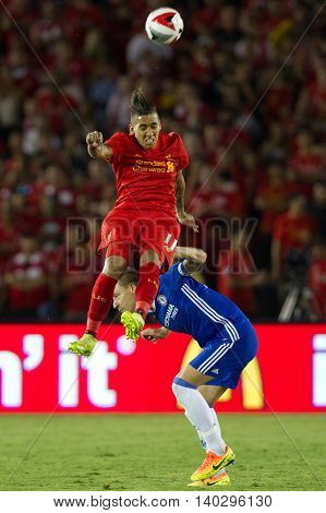 PASADENA, CA - JUNE 4: Roberto Firmino & John Terry during the 2016 ICC game between Chelsea & Liverpool on July 27th 2016 at the Rose Bowl in Pasadena, Ca.