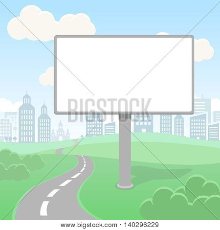 Blank empty billboard screen and urban landscape for Commercial advertisement and design. Outdoor board poster