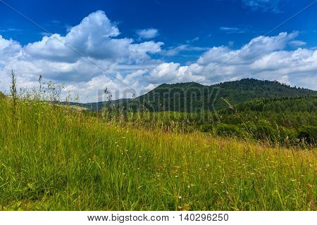 Landscape in Bieszczady Mountains. Bieszczady is a part of Carpathian mountains. Poland.