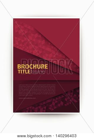 brochure flyer dark magenta Modern Vector abstract brochure / book / flyer design template business design layout template in A4 size, with blur background, vector eps10.