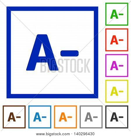 Set of color square framed Decrease font size flat icons