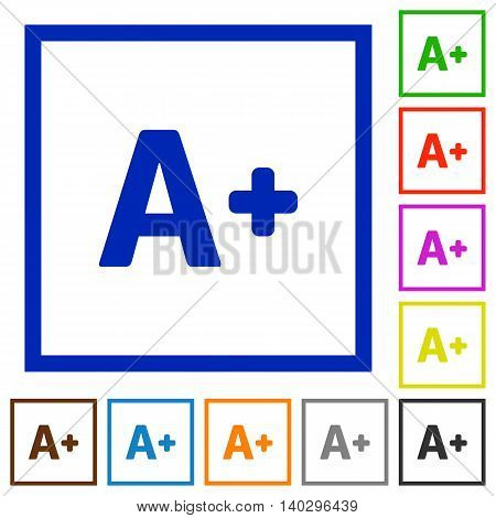Set of color square framed Increase font size flat icons
