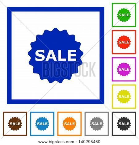 Set of color square framed sale badge flat icons