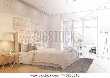 Development and planning of bedroom with CAD wireframe mesh and 3D Rendering