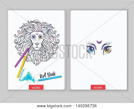 Template card with loin made in vector. Hand drawn lion. Adult coloring book