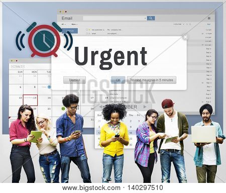 Urgent Necessary Important Immediately Urgency Priority Concept