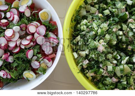 Two Various Salad In Bowls