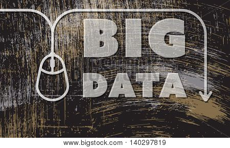 Vector abstract scratched background with mouse and the words big data