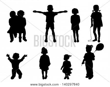 Vector illustration of a set of black silhouettes of children. Child isolated on white background.