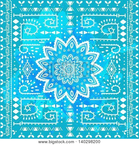 Ornament color card with mandala. Pattern circle element vector. Art subject  Adults Coloring book. Kaleidoscope, medallion, yoga, india, arabic. Illustration for print, print, notebook clothing