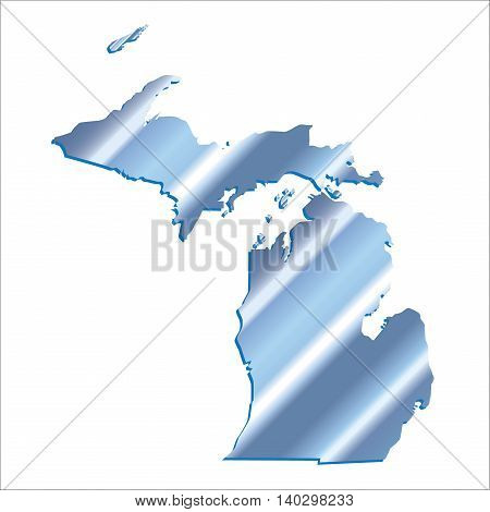 3D Michigan (USA) Iridium Blue Boundary map with shadow