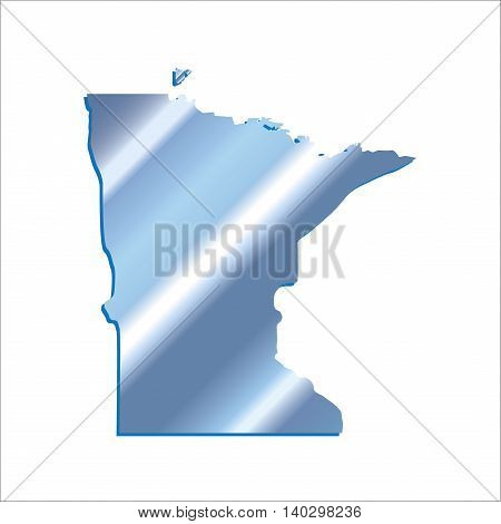 3D Minnesota (USA) Iridium Blue Boundary map with shadow