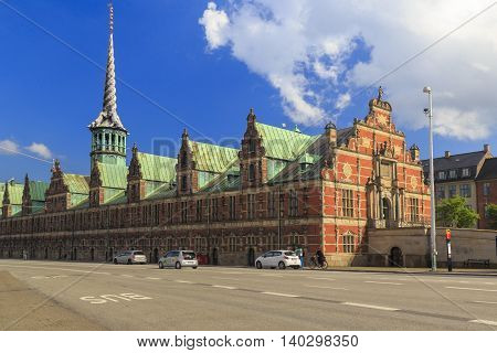 COPENHAGEN, DENMARK - JUNE 29, 2016: This building (Bersen) is the former Copenhagen Stock Exchange on Slotsholmen Island in the heart of Copenhagen built in the 17th century.