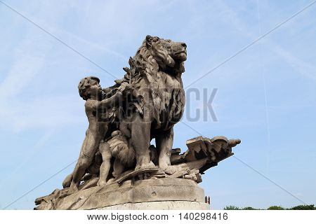 PARIS, FRANCE - MAY 12, 2015: This is one of the sculptural decorations near the bridge of Alexander III.