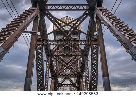 A detail of historic railroad Katy Bridge  over Missouri River at Boonville with a lifted midsection