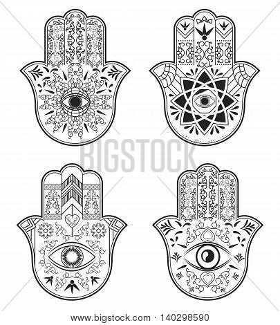 Elegant ornate hand drawn Hamsa Hand of Fatima. Good luck amulet in Indian, Arabic Jewish cultures. Vintage style isolated set vector illustration.