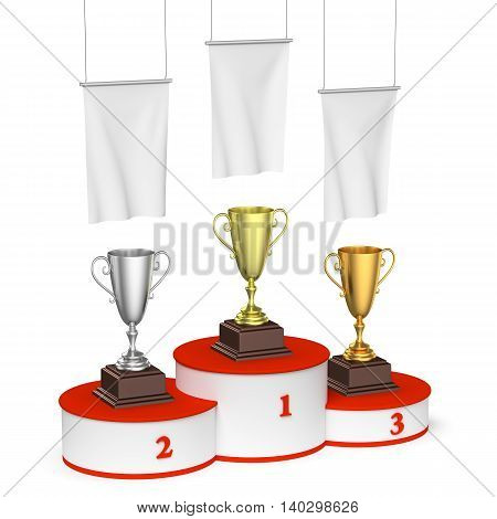 Winners Podium With Trophy Cups And Blank White Flags