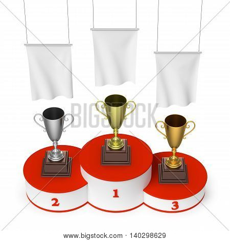 Winners Podium With Trophy Cups And Blank White Flags Top View