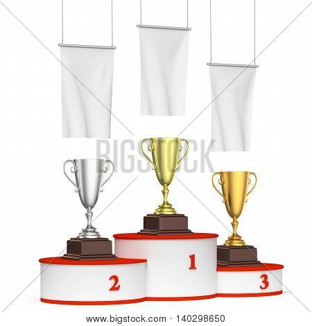 Round Winners Podium With Trophy Cups And Blank White Flags, Left View