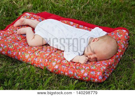 Newborn baby sleeping on a red blanket on green grass