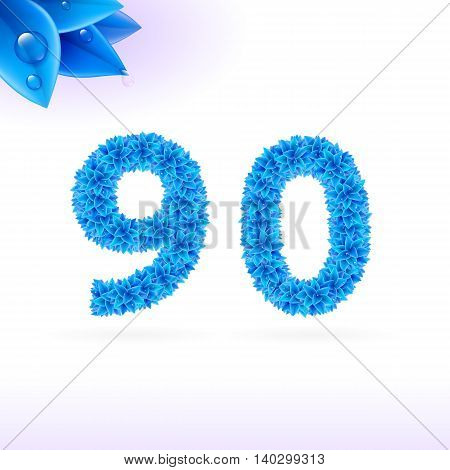 Sans serif font with blue leaf decoration on white background. 9 and 0 numerals