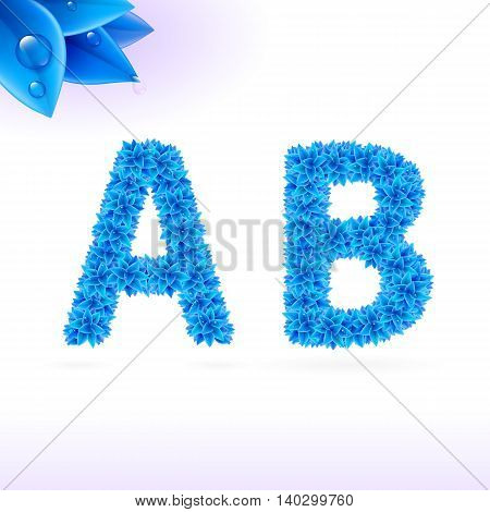 Sans serif font with blue leaf decoration on white background. A and B letters