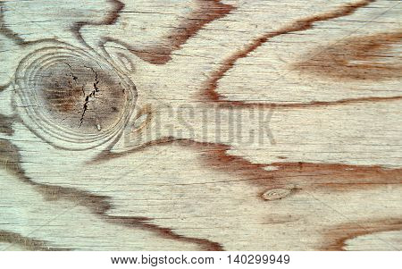 Weathered Wood Surface: Closeup showing wavy abstract lines and circular knot.
