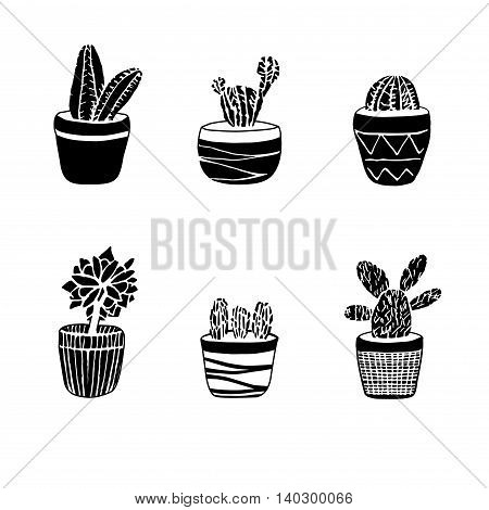 Hand Drawn Set Of Cactus In The Pots
