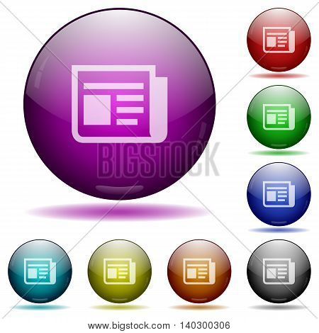 Set of color news glass sphere buttons with shadows.