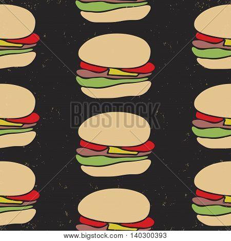 Seamless Pattern Of Fast Food Cartoon Burger