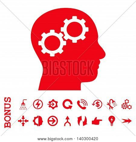 Brain Gears glyph icon. Image style is a flat pictogram symbol, red color, white background.