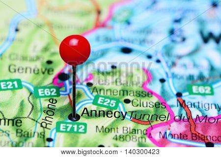 Annecy pinned on a map of France