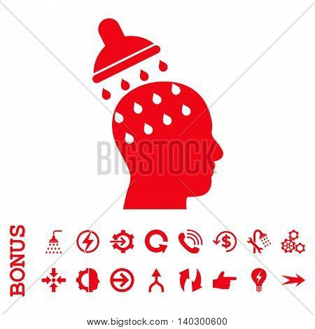 Brain Washing glyph icon. Image style is a flat iconic symbol, red color, white background.