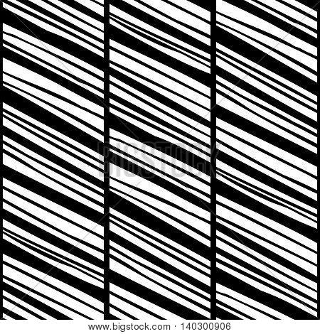 Monochrome striped seamless pattern with diagonal hand drawn black lines