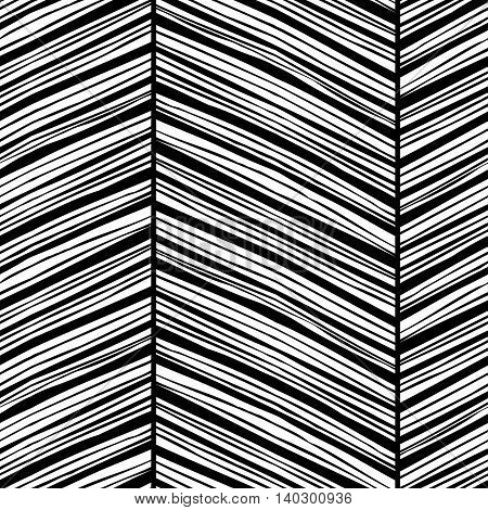 Monochrome zigzag seamless pattern with hand drawn black lines