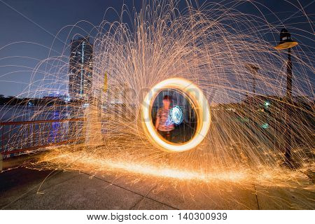 Fire spinning from Steel Wool at River Walk
